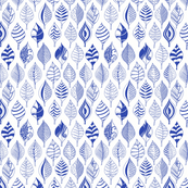 Geometric leaves blue on white