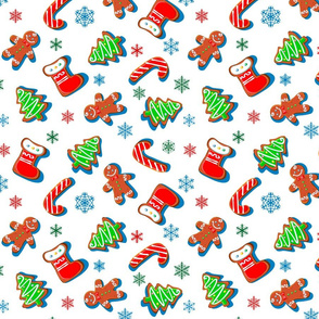 Gingerbread cookies with snowflakes. Christmas print. Seamless pattern. White.