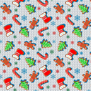 Gingerbread cookies with snowflakes. Knitted fabric. Christmas print. Seamless pattern. White.