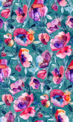 June Evening watercolor floral in magenta and teal - small print