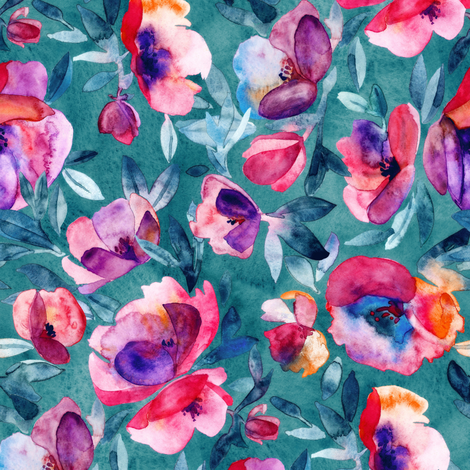 June Evening watercolor floral in magenta and teal - small print fabric by micklyn on Spoonflower - custom fabric