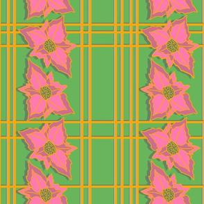 Tropical poinsettias pink checks