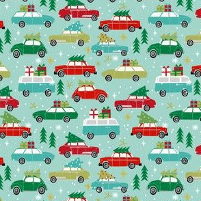 SMALL - vintage christmas cars holiday xmas christmas fabric tree on car