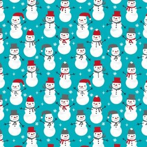 SMALL - Snowman winter holiday christmas fabric snowflakes north pole