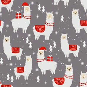 winter llama - christmas, holiday, xmas, llamas - cute alpaca fabric - grey and red