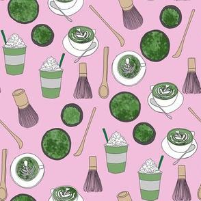 matcha latte fabric- matcha, green tea, tea latte, latte fabric, coffee, design - pink