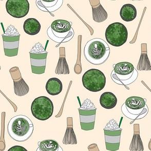 matcha latte fabric- matcha, green tea, tea latte, latte fabric, coffee, design - cream