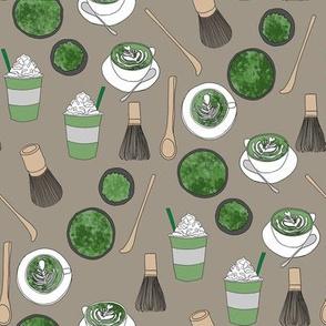 matcha latte fabric- matcha, green tea, tea latte, latte fabric, coffee, design - khaki