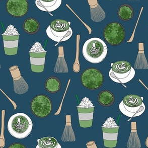 matcha latte fabric- matcha, green tea, tea latte, latte fabric, coffee, design - dark blue