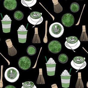 matcha latte fabric- matcha, green tea, tea latte, latte fabric, coffee, design - black