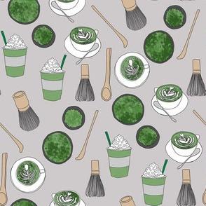 matcha latte fabric- matcha, green tea, tea latte, latte fabric, coffee, design - grey