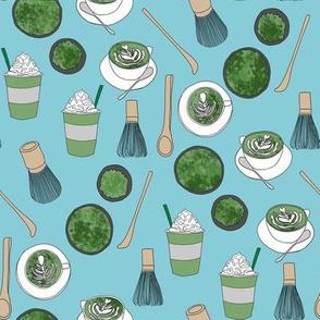 matcha latte fabric- matcha, green tea, tea latte, latte fabric, coffee, design - blue