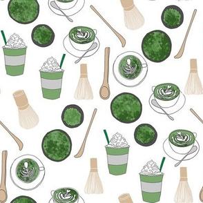 matcha latte fabric- matcha, green tea, tea latte, latte fabric, coffee, design - white