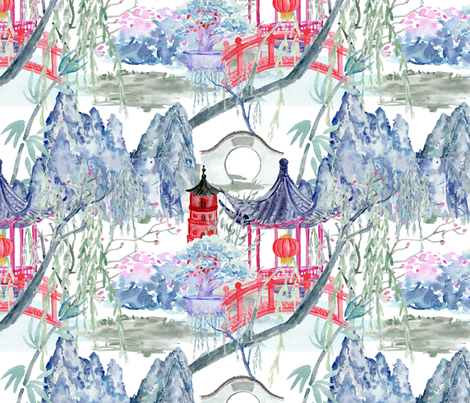 Chinoiserie Tranquility fabric by floramoon on Spoonflower - custom fabric