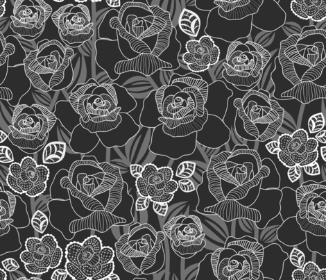 Rose's Luxury - Black fabric by y_me_it's_me_shop on Spoonflower - custom fabric