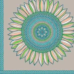 Ornamental sunflowers - tea towel in soft pastel
