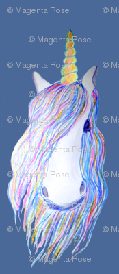 unicorn painted in watercolor on dark blue