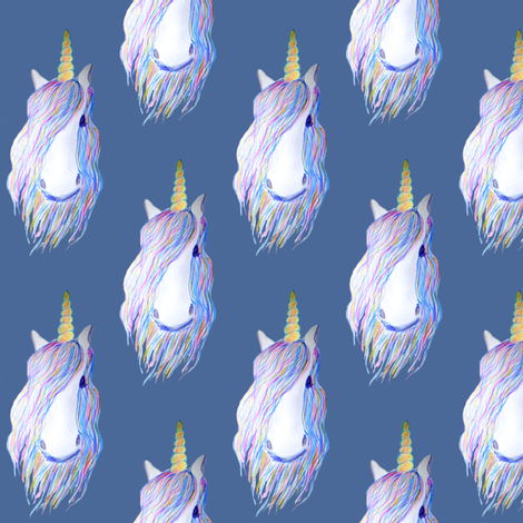 unicorn painted in watercolor on dark blue fabric by magentarosedesigns on Spoonflower - custom fabric