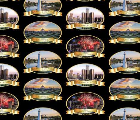 Detroit Celebration - Black Background fabric by pateisen on Spoonflower - custom fabric