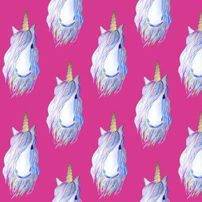 unicorn with horn  on pink