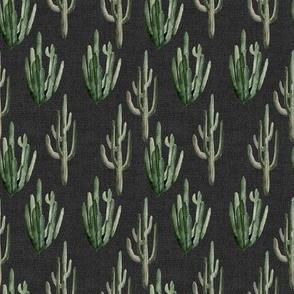 "4"" Western Watercolor Cactus // Charcoal Linen"