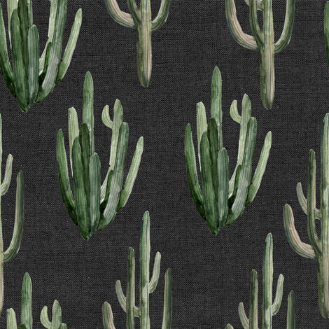 """8"""" Western Watercolor Cactus // Charcoal Linen fabric by hipkiddesigns on Spoonflower - custom fabric"""