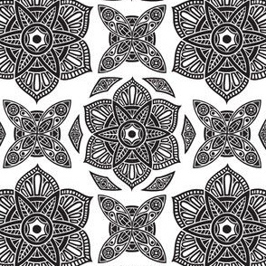 Floral Mandala Black and White