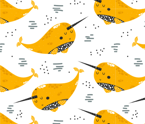 Happy Little Yellow Narwhals fabric by floramoon on Spoonflower - custom fabric