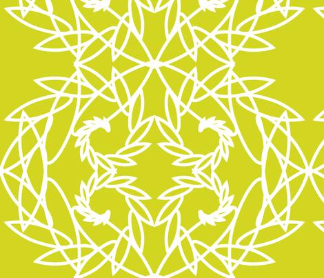 Rotating leaves on green - Summer Dahlias coordinating fabric by vivaeris_designs on Spoonflower - custom fabric