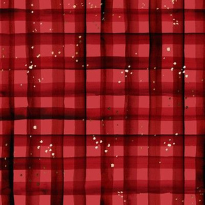 watercolor plaid-holiday red sparkle