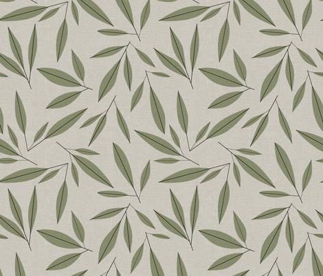 mid century modern olive leaves fabric by vo_aka_virginiao on Spoonflower - custom fabric