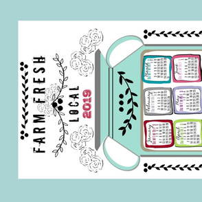 2019 tea towel calendar-colorful Farm Fresh