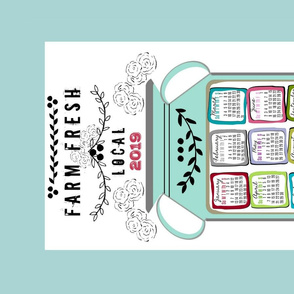 2019 calendar tea towel - Farm Fresh Jug - mint