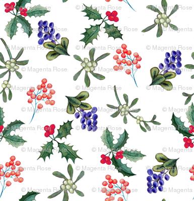 Mistletoe Holly Berries On White Wallpaper Magentarosedesigns