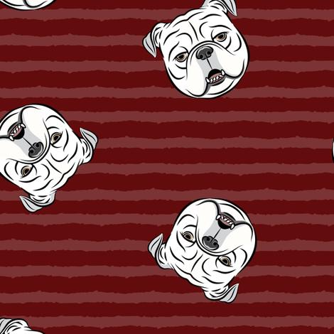 English bulldogs (white) on maroon stripes fabric by littlearrowdesign on Spoonflower - custom fabric