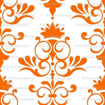 Retro Goldfish - Burnt Orange Damask