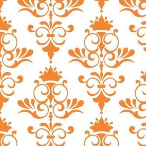 Retro Goldfish - Tangarine Orange Damask