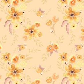 mustard watercolor florals