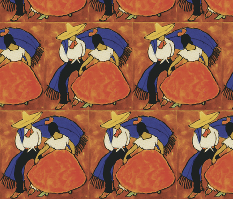 Fiesta Folklore Dancers Tile fabric by fabric_is_my_name on Spoonflower - custom fabric