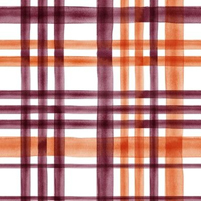 watercolor plaid - orange and marroon - fall plaid