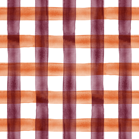 watercolor plaid - maroon and orange check fabric by littlearrowdesign on Spoonflower - custom fabric