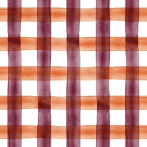 watercolor plaid - maroon and orange check