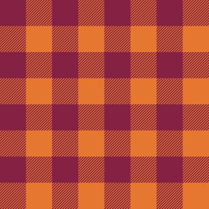 plaid - maroon and orange