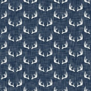 antlers on hunter navy linen || micro scale C18BS