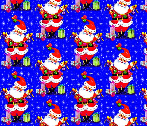 merry Christmas Santa Claus Xmas snowflakes winter snow toys presents gifts baubles decorations vintage retro kitsch stars sparkles cute blue red  fabric by raveneve on Spoonflower - custom fabric