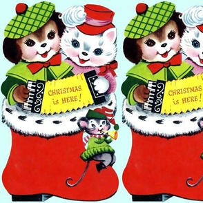 Merry Christmas Xmas cats dogs mouse mice socks stocking Accordion trumpets hats winter music cute pink green red blue vintage retro kitsch