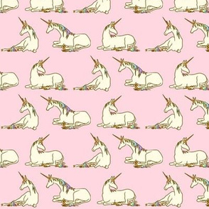 Unicorns in Cream and Rainbow on Pink