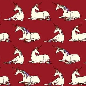 Unicorns in Cream and Rainbow on Burgundy (2nd order)