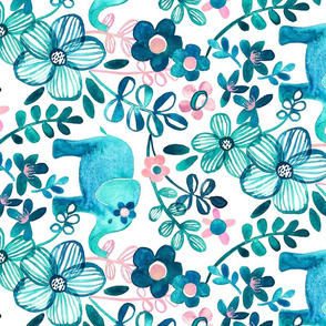 Little Teal Elephant Watercolor Floral on White - large print horizontal version