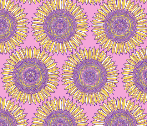Mandala sunflowers in yellow, pink and violet fabric by simut on Spoonflower - custom fabric